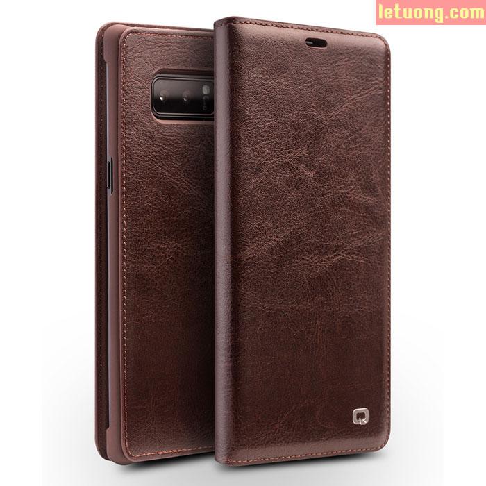 Bao da Galaxy Note 9 Qialino Classic Laether Wallet da thật Hanmade