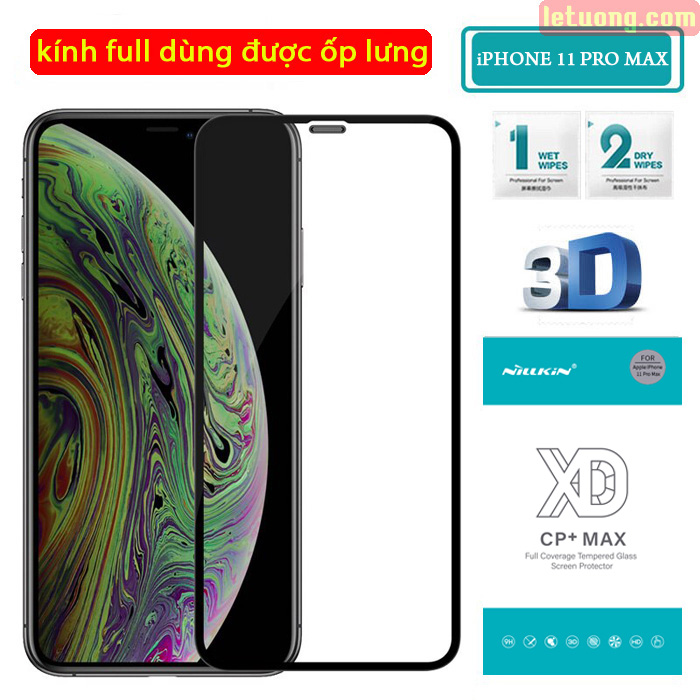 Kính cường lực iPhone 11 Pro Max Nillkin 3D XD CP+ full màn dùng được ốp lưng