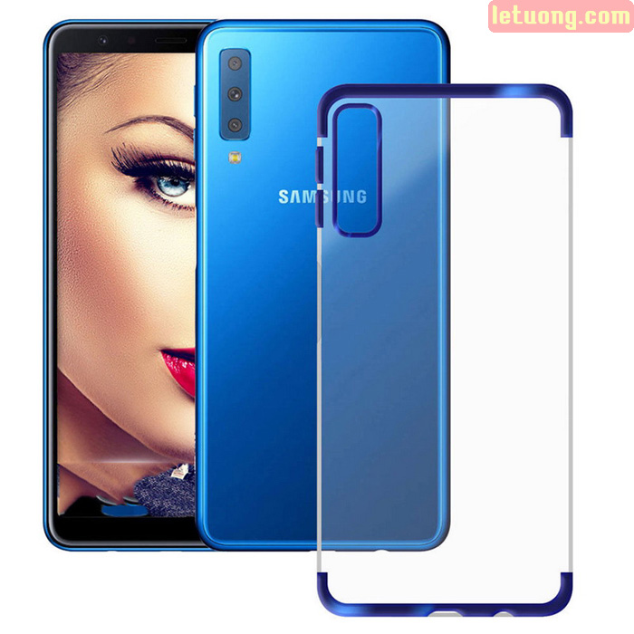 Ốp lưng Galaxy A7 2018 LT Plating Case trong suốt viền mạ Crom sáng bóng