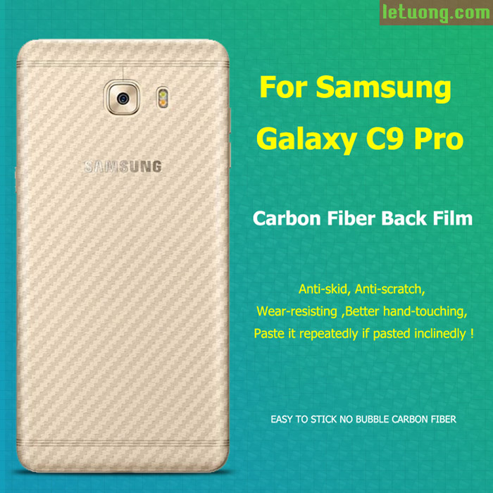 Miếng dán full mặt lưng Galaxy C9 Pro vân Carbon trong suốt