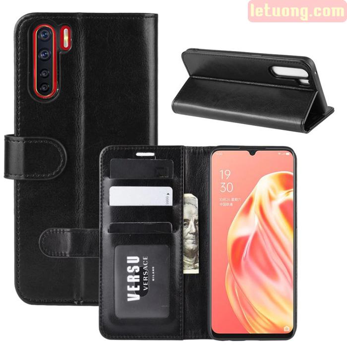 Bao da Oppo Reno3 LT Wallet Leather dạng ví đa năng - khung mềm