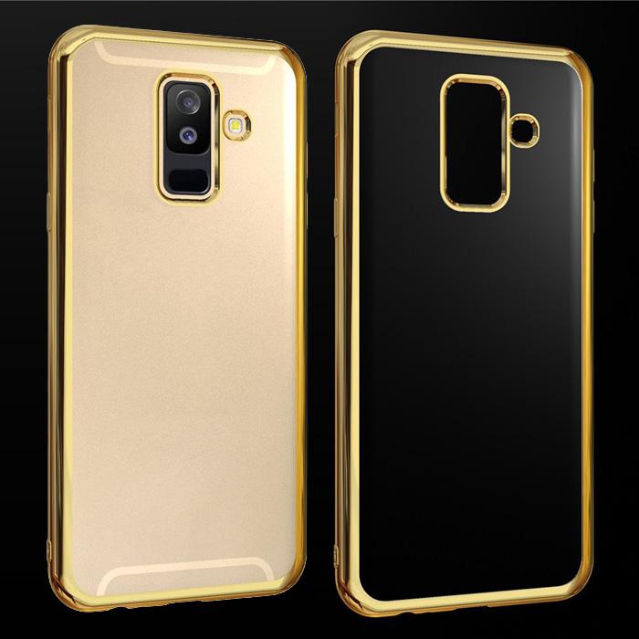 Ốp lưng Galaxy A6 Plus 2018 LT Glitter trong suốt viền mạ Crom sáng bóng
