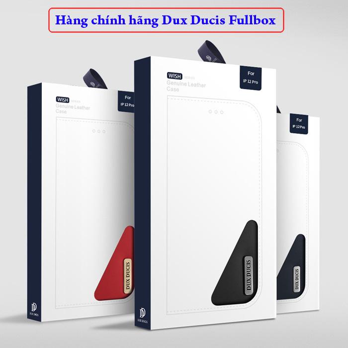 Bao da iPhone 12 Pro / 12 Dux Ducis Wish Genuine Leather Vintage cổ điển