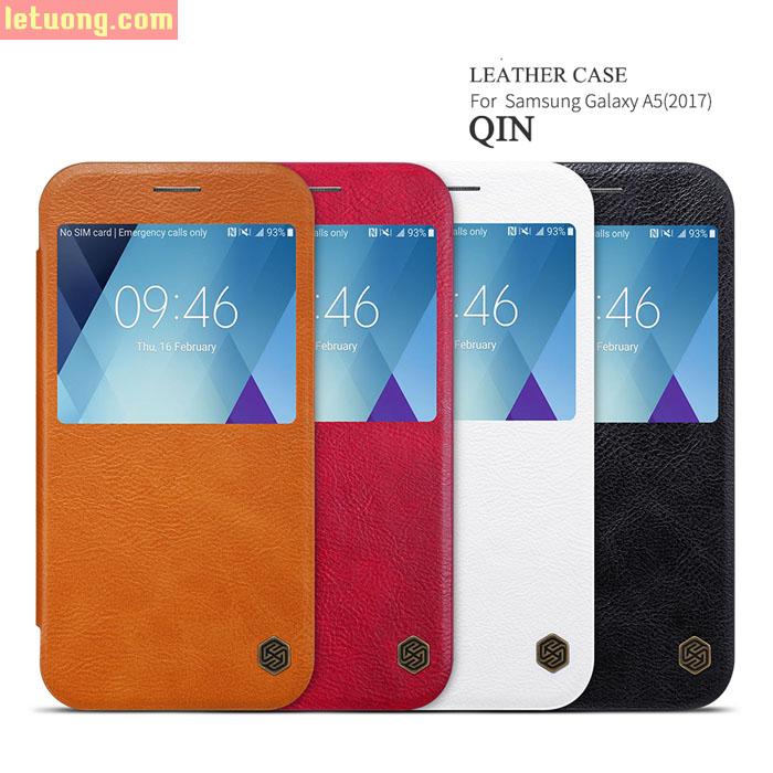 Bao da Galaxy A5 2017 Nillkin Qin View Leather sang trọng cổ điển