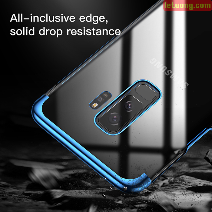 Ốp lưng Galaxy S9 Plus Baseus Glitter trong suốt viền crom, tặng dán lưng Carbon