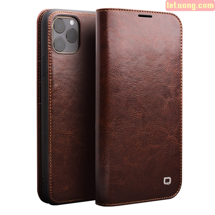 Bao da iPhone 11 Pro Max Qialino Classic Leather Hanmade da thật