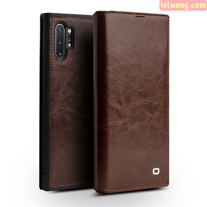 Bao da Galaxy Note 10 Plus Qialino Classic Leather Wallet da thật Hanmade