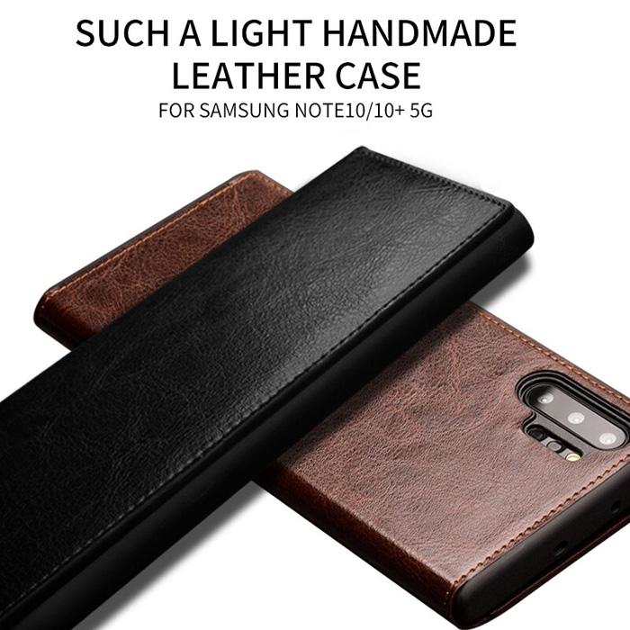Bao da Galaxy Note 10 Plus Qialino Classic Leather Wallet da thật Hanmade
