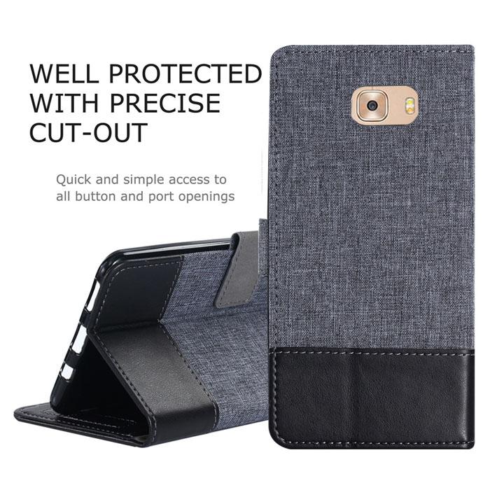 Bao da Galaxy C9 Pro Muxma Leather Wallet đa năng, khung mềm