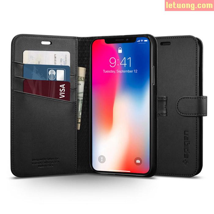 Bao da iPhone Xs Spigen Wallet S dạng ví đa năng ( Hàng USA )
