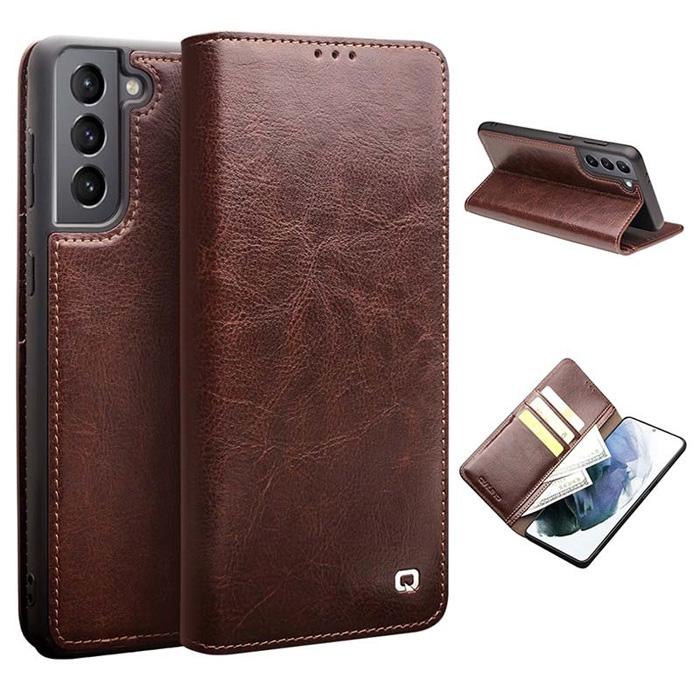 Bao da Galaxy S21 Plus 5G Qialino Classic Leather Wallet da thật Hanmade