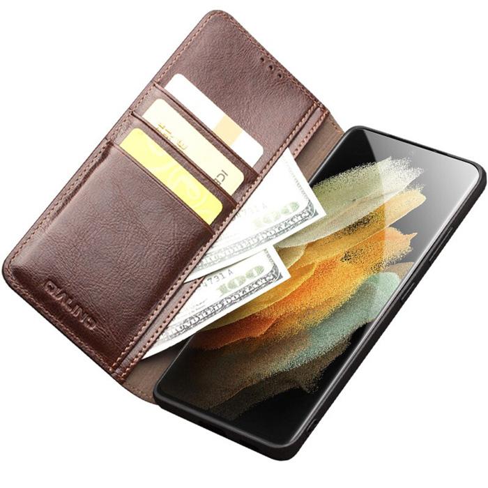 Bao da Samsung S21 Ultra 5G Qialino Classic Leather Wallet da thật Hanmade