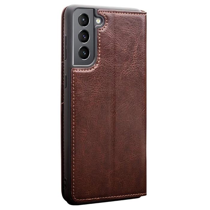 Bao da Galaxy S21 Plus 5G Qialino Classic Leather Wallet da thật Hanmade