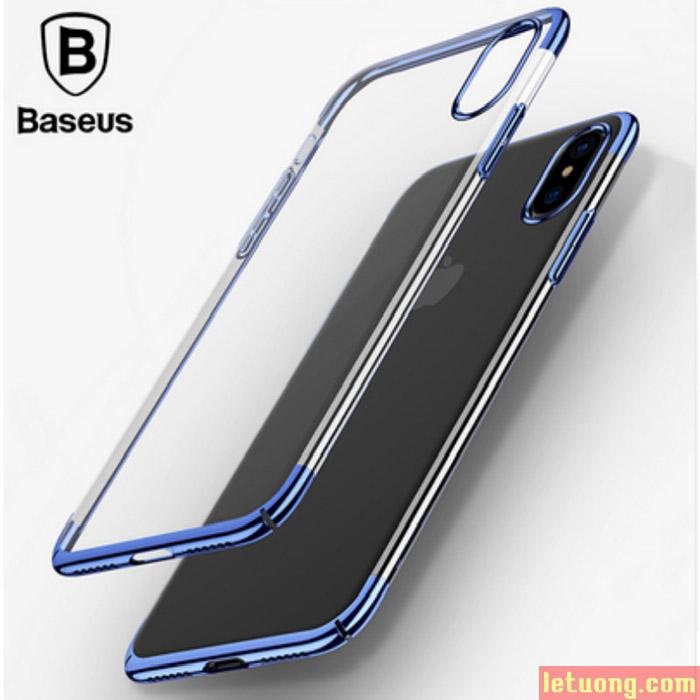 Ốp lưng Iphone X Baseus Glitter trong suốt + viền mạ Crom sang bóng