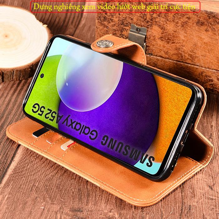 Bao da A52 5G LT Wallet Retro dạng ví - thời trang sang trọng 3
