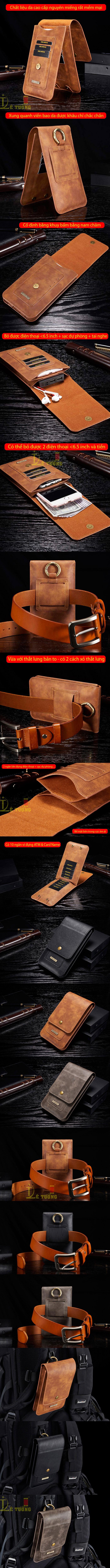 Bao da đeo thắt lưng đa năng DG.ming Genuine Leather 2 ngăn đa năng 4