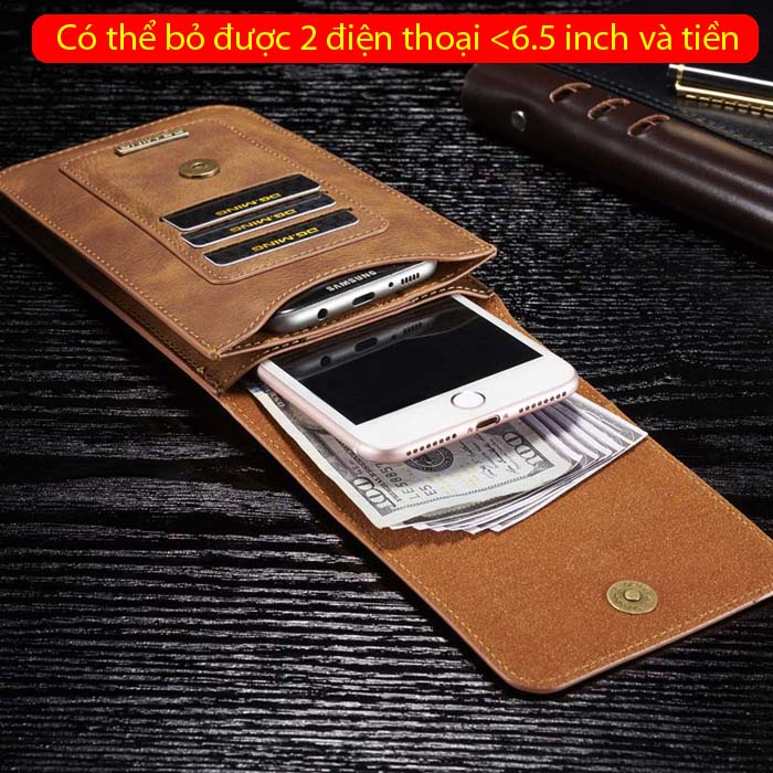 Bao da đeo thắt lưng đa năng DG.ming Genuine Leather 2 ngăn đa năng 1