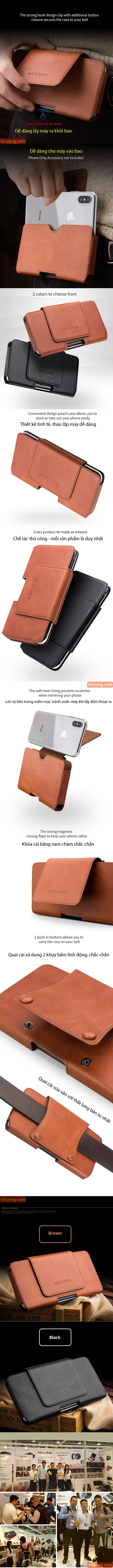 Bao da đeo thắt lưng Iphone X  Qialino Premium da thật Hanmade 2
