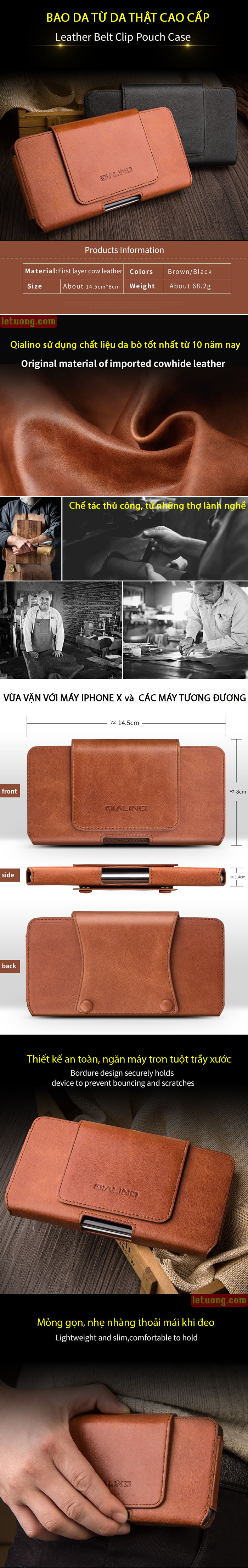Bao da đeo thắt lưng Iphone X  Qialino Premium da thật Hanmade 1