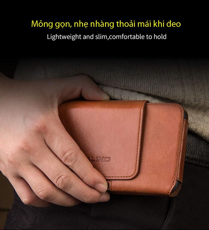 Bao da đeo thắt lưng Iphone X  Qialino Premium da thật Hanmade 3