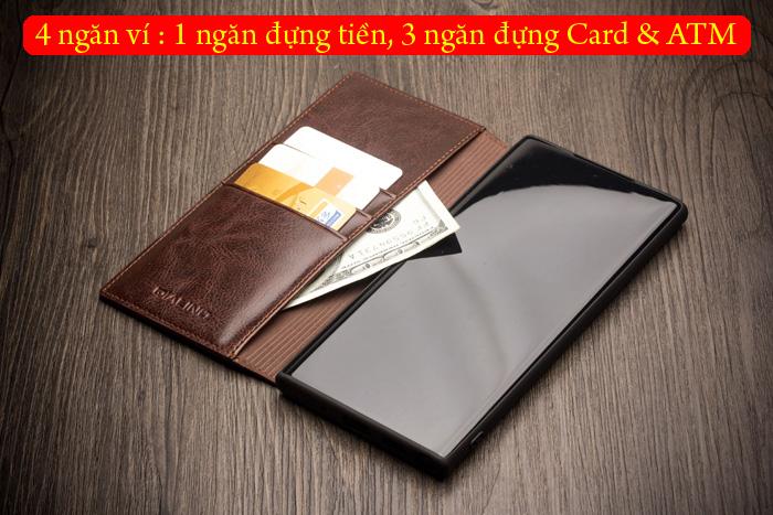 Bao da Galaxy Note 10 Plus Qialino Classic Leather Wallet da thật Hanmade 3