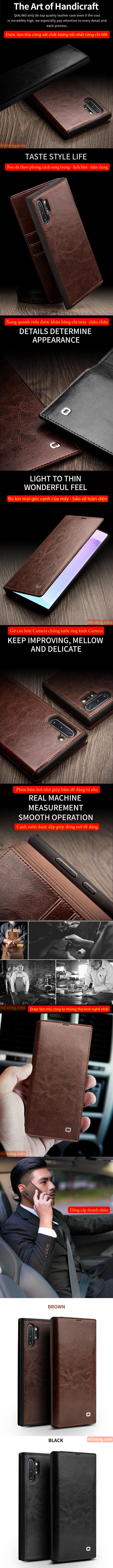 Bao da Galaxy Note 10 Plus Qialino Classic Leather Wallet da thật Hanmade 5