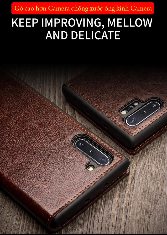 Bao da Galaxy Note 10 Plus Qialino Classic Leather Wallet da thật Hanmade 2
