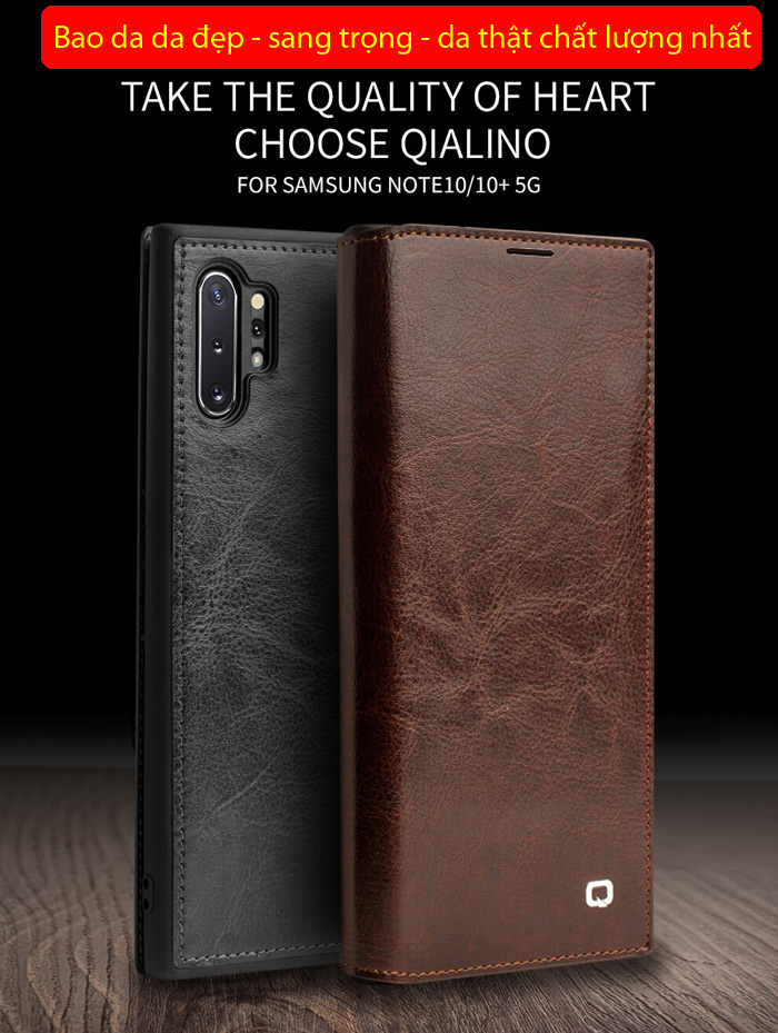 Bao da Galaxy Note 10 Plus Qialino Classic Leather Wallet da thật Hanmade 1