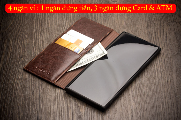 Bao da Galaxy Note 10 Qialino Classic Leather Wallet da thật Hanmade 5