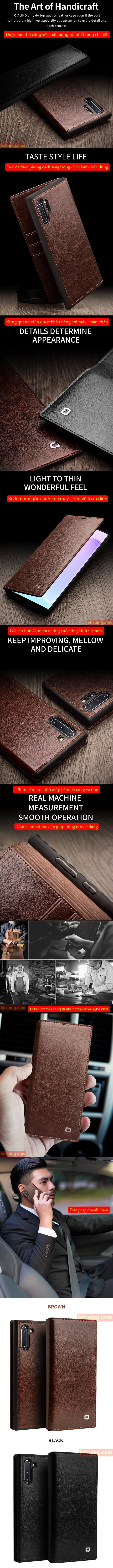 Bao da Galaxy Note 10 Qialino Classic Leather Wallet da thật Hanmade 7
