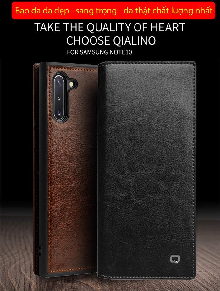 Bao da Galaxy Note 10 Qialino Classic Leather Wallet da thật Hanmade 1