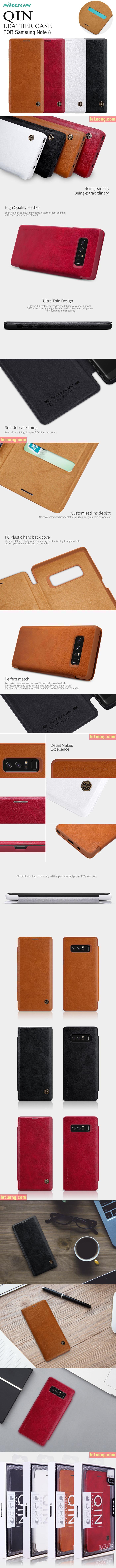 Bao da Galaxy Note 8 Nillkin Qin Leather Case sang trọng, cổ điển 2