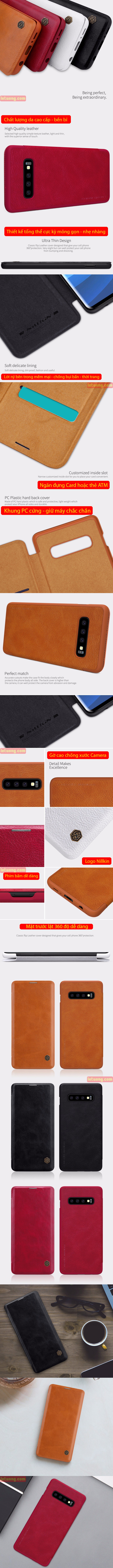 Bao da Galaxy S10 Plus Nillkin Qin Leather sang trọng - cổ điển 3