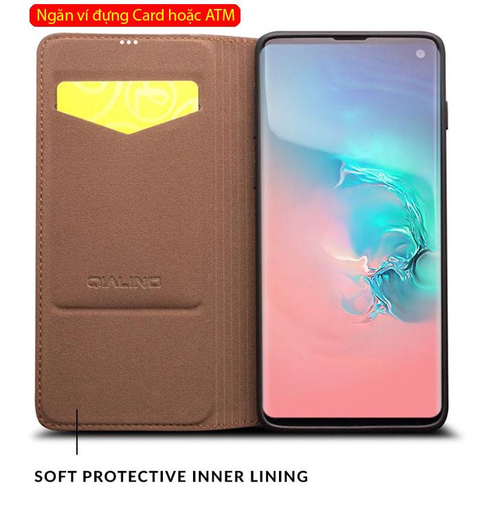 Bao da Galaxy S10 Plus Qialino Classic Leather Wallet da thật Hanmade 4