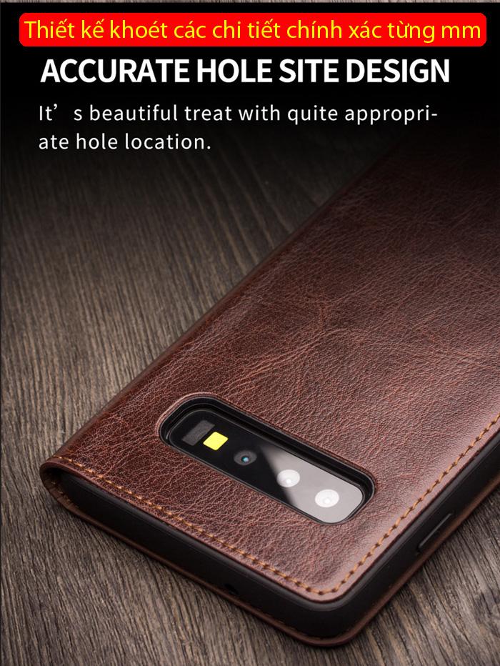 Bao da Galaxy S10 Plus Qialino Classic Leather Wallet da thật Hanmade 3