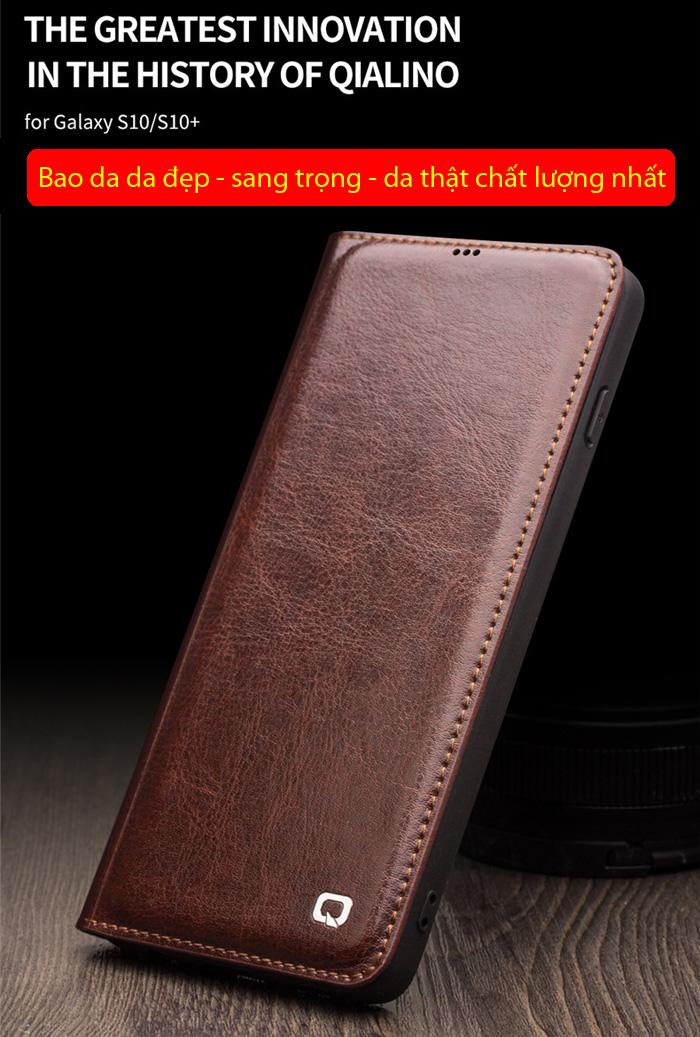 Bao da Galaxy S10 Plus Qialino Classic Leather Wallet da thật Hanmade 1