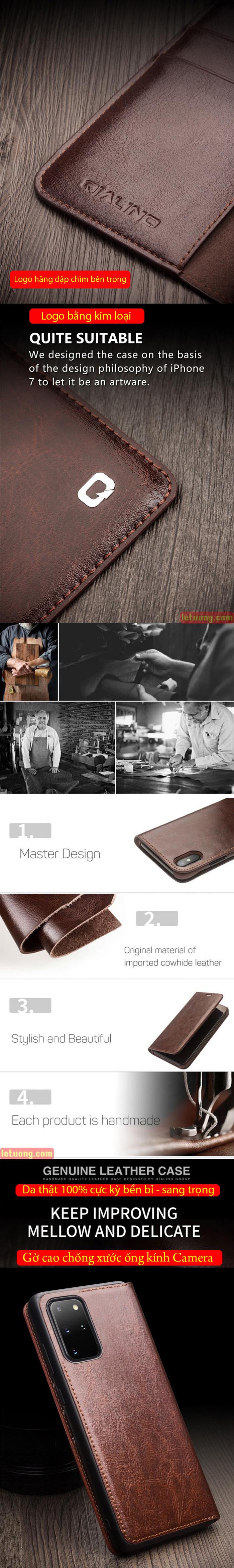 Bao da Galaxy S20 Plus Qialino Classic Leather Wallet da thật Hanmade 5
