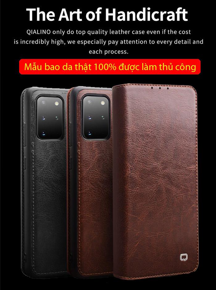 Bao da Galaxy S20 Plus Qialino Classic Leather Wallet da thật Hanmade 1