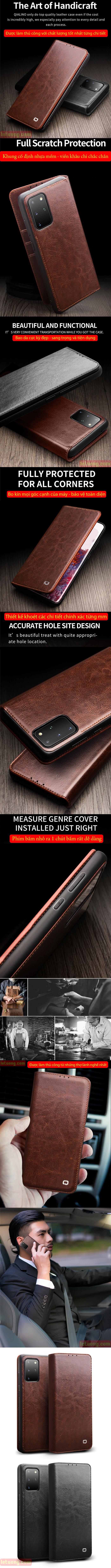 Bao da Galaxy S20 Plus Qialino Classic Leather Wallet da thật Hanmade 6