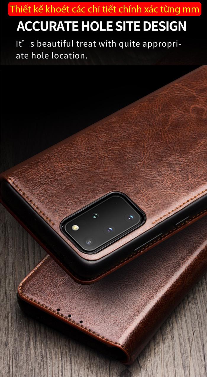 Bao da Galaxy S20 Ultra Qialino Classic Leather Wallet da thật Hanmade 3