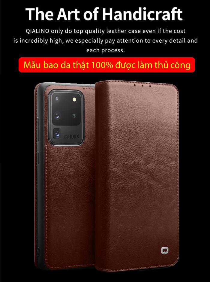 Bao da Galaxy S20 Ultra Qialino Classic Leather Wallet da thật Hanmade 1