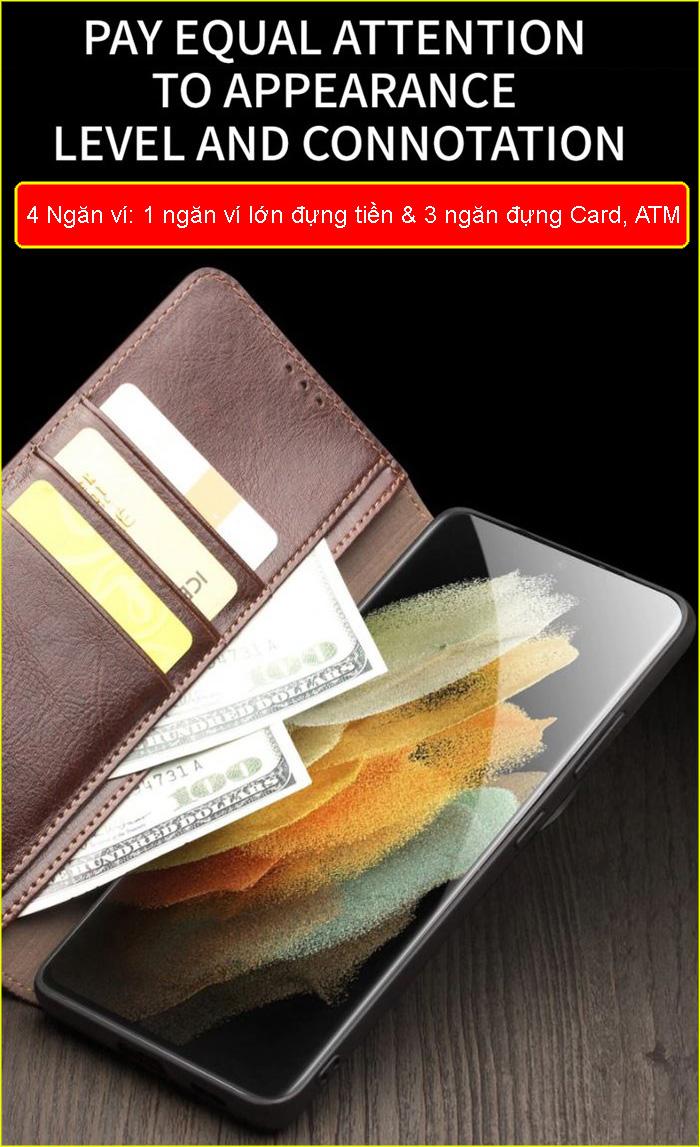 Bao da Galaxy S21 Plus 5G Qialino Classic Leather Wallet da thật Hanmade 4