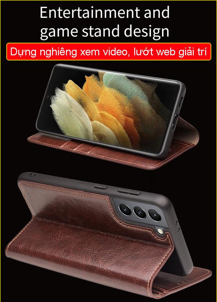Bao da Galaxy S21 Plus 5G Qialino Classic Leather Wallet da thật Hanmade 5