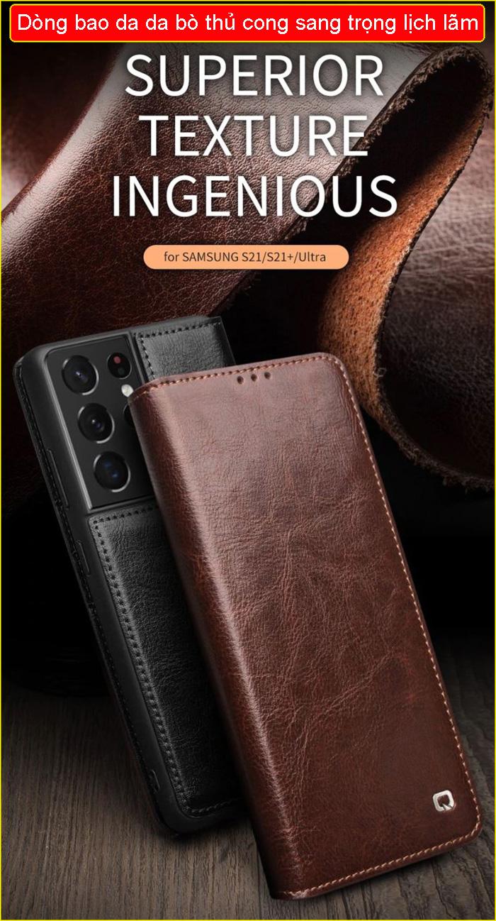 Bao da Galaxy S21 Plus 5G Qialino Classic Leather Wallet da thật Hanmade 1