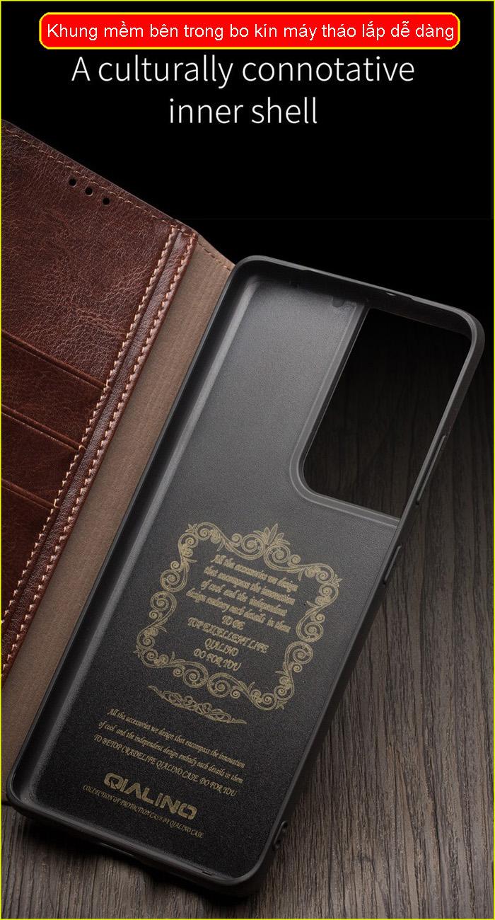 Bao da Galaxy S21 Plus 5G Qialino Classic Leather Wallet da thật Hanmade 3