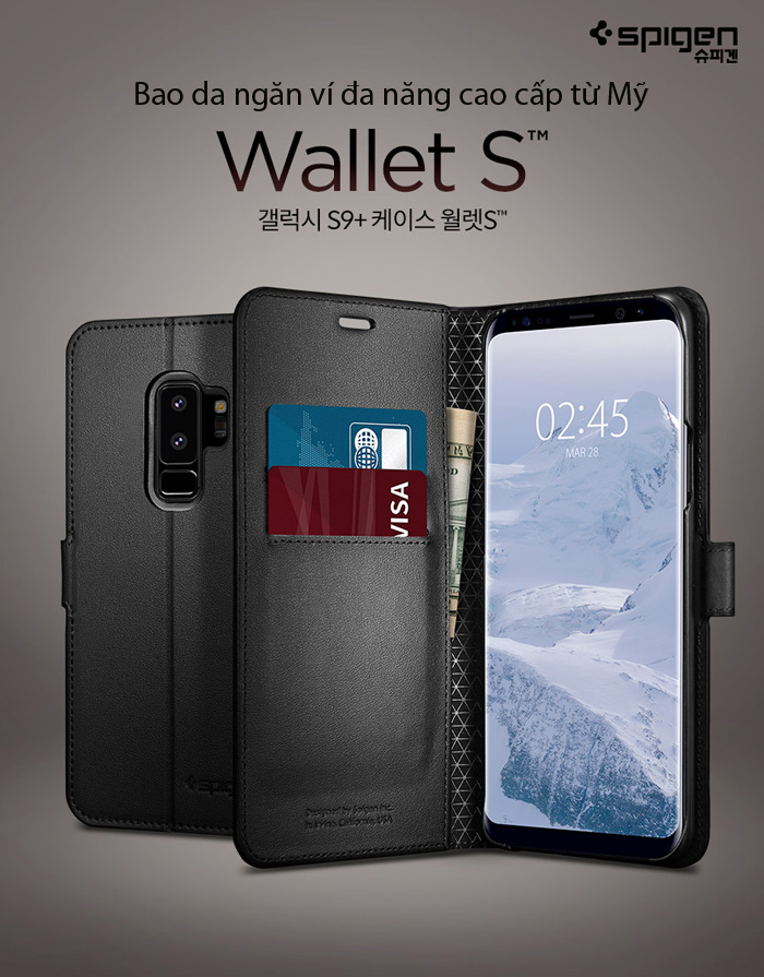 Bao da Galaxy S9 Plus (S9+) Spigen Wallet S đa năng từ Mỹ 1