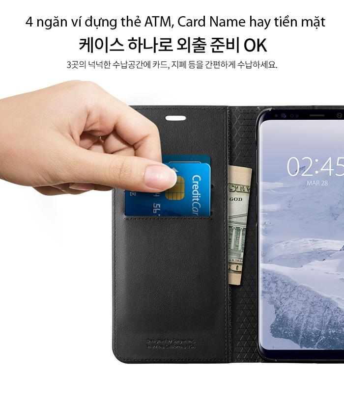 Bao da Galaxy S9 Plus (S9+) Spigen Wallet S đa năng từ Mỹ 2