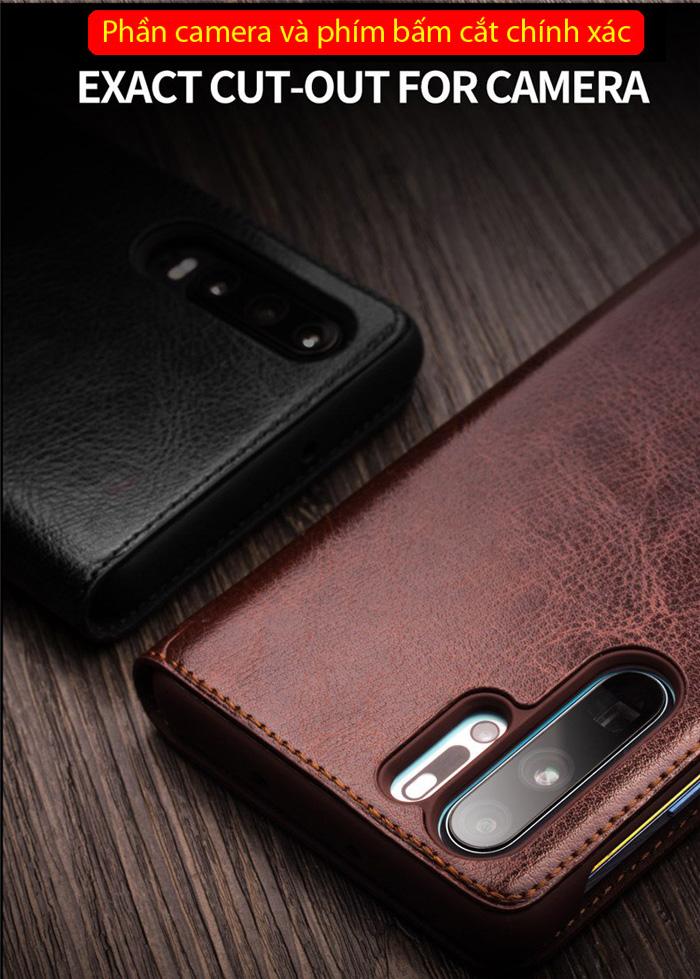 Bao da Huawei P30 Pro Qialino Classic Laether Wallet da thật Hanmade 3