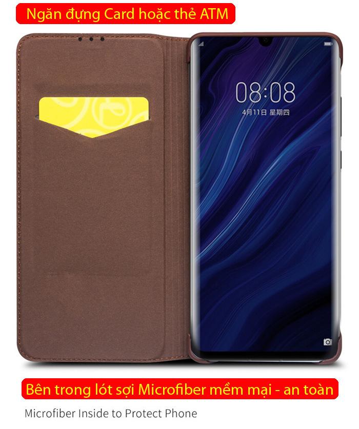 Bao da Huawei P30 Pro Qialino Classic Laether Wallet da thật Hanmade 4