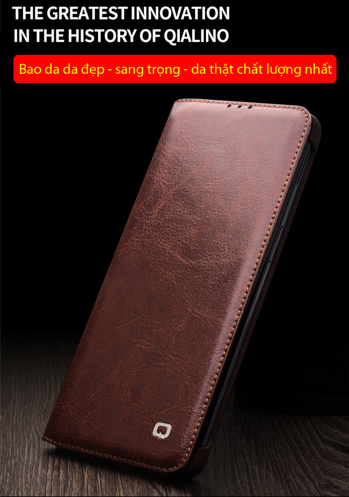 Bao da Huawei P30 Pro Qialino Classic Laether Wallet da thật Hanmade 1